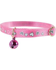 ZOLUX Zgardă reflectorizantă cu inimioare 30 cm roz