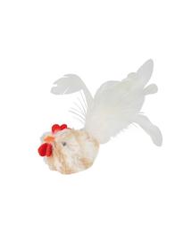 TRIXIE Jucărie cocoș alb cu pene (cu sunet) 8 cm