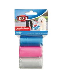 TRIXIE Pungi colorate cu mânere pentru excremente 3x15 buc.