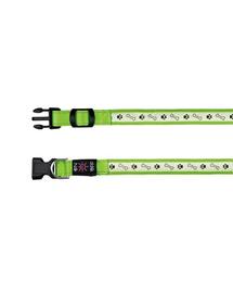 TRIXIE Zgardă cu beculeț pe USB S-M 30–40 cm/25 mm, verde