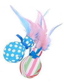 ZOLUX Jucărie pentru pisici Candy Toys Ball z feather 2 buc. cu iarba-mâței și clopoțel culoare albastru