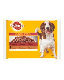PEDIGREE Hrană umedă pentru câini cu vită și pasăre în aspic 4x100 g