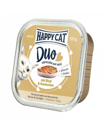 HAPPY CAT Duo pate vită și iepure 100 g