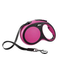 FLEXI Lesă automată New Comfort XS bandă 3 M roz
