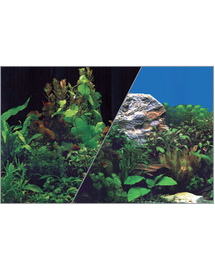 ZOLUX Fundal cu două fețe pentru acvariu 30 x 40 cm plante negru / plante albastru