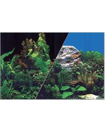 ZOLUX Fundal cu două fețe pentru acvariu 30 cm x 15 M plante negru / plante albastru