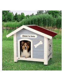 TRIXIE Natura Dog Kennel With Saddle Roof M 91 × 80 × 80 cm cușcă albastru deschis / alb