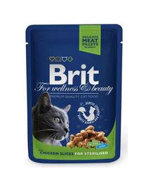 BRIT Premium Cat Adult Sterilised cu pui în sos 100g