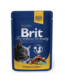 BRIT Premium Cat Adult pui și curcan 100 g