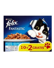 FELIX Fantastic hrană umedă în aspic 72x100g: vită, pui, rață și miel