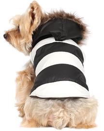 Doggy Dolly Geacă cu glugă de blană, negru / alb, XXS 13-15 cm/26-28 cm