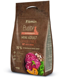 FITMIN Dog Purity Grain free adult mini beef 4 kg
