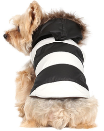 Doggy Dolly Geacă cu glugă de blană, negru/alb, XL 33-35 cm/51-53 cm