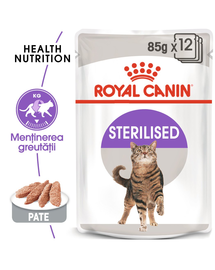 Royal Canin Sterilised Loaf Adult hrana umeda pate pentru pisica sterilizata, 12 x 85 g