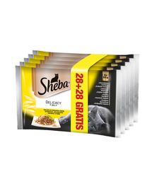 SHEBA Delicacy cu Carne de Pasăre în Aspic 85 g 4 + 4 GRATIS x7