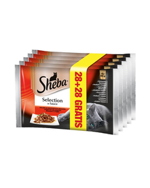 SHEBA Selection Varietate de Carne în Sos 85 g 4 + 4 GRATIS x7