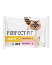 PERFECT FIT Sensitive 1+ Hrană umedă cu pui și somon 52 x 85 g