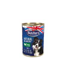 BUTCHER'S Dog Natural&Healthy cu bucăți de carne de curcan în aspic 400 g