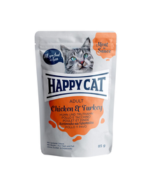 HAPPY CAT Meat in sauce Adult, pui și curcan 85 gr