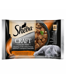SHEBA Craft Collection 4x85g cu carne de vită, miel, curcan și pui