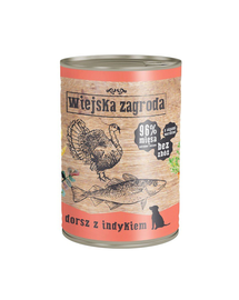 WIEJSKA ZAGRODA hrană umedă fără cereale, cod și curcan 400 gr