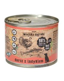 WIEJSKA ZAGRODA hrană umedă fără cereale, cod și curcan 200 gr