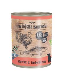 WIEJSKA ZAGRODA hrană umedă fără cereale, cod și curcan 800 gr