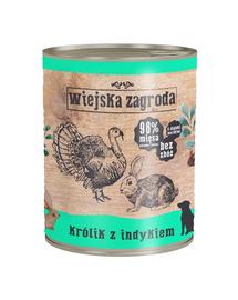 WIEJSKA ZAGRODA hrană umedă fără cereale, iepure și curcan 800 gr
