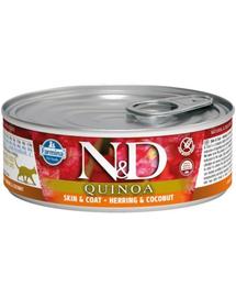 FARMINA N&D Cat Quinoa Skin&Coat cu hering și cocos 80 g