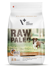 VETEXPERT RAW PALEO Puppy Medium cu carne de curcan 10 kg
