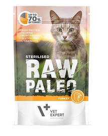 VETEXPERT RAW PALEO Cat Sterilised cu carne de curcan 100 g