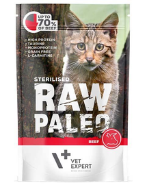 VETEXPERT RAW PALEO Cat Sterilised cu vită 100 g