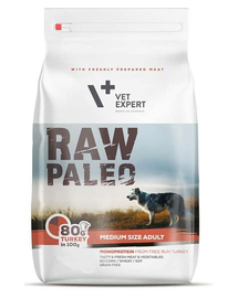 VETEXPERT RAW PALEO Adult Medium cu carne de curcan 10 kg