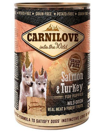 CARNILOVE Wild Meat Salmon&Turkey Puppy somon și curcan 400 gr