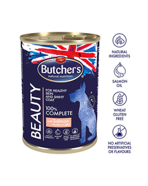 BUTCHER'S Functional Dog Beauty bucăți de somon în aspic 400 gr