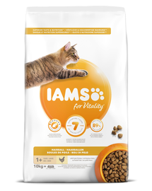 IAMS for Vitality pentru înlăturarea ghemului de păr, cu pui 10 kg