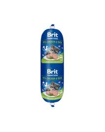 BRIT Cat sausage hrană umedă pentru pisici, pui și rață 180 g