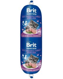 BRIT Cat sausage hrană umedă pentru pisici sterilizate, pui și curcan 180 g