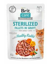 BRIT Care Cat Fillets in gravy Sterilised, file de iepure în sos 85 g