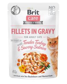 BRIT Care Cat Fillets in gravy, file de curcan și somon în sos 85 g
