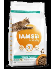 IAMS for Vitality pentru pisici adulte, sterilizate, cu pui 3 kg