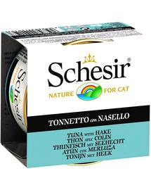 SCHESIR Hrană umedă pentru pisici, cu ton și merluciu 85 g
