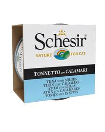 SCHESIR Hrană umedă pentru pisici, cu ton și calamar 85 g