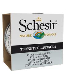 SCHESIR Hrană umedă pentru pisici, cu ton și biban de mare european 85 g