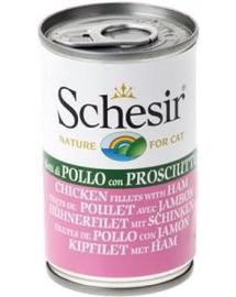 SCHESIR Hrană umedă pentru pisici, cu file de pui și șuncă 140 g