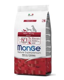 MONGE Mini Adult hrană uscată pentru câini de talie mică, bogat în pui 800g