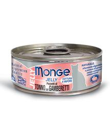 MONGE Jelly hrană umedă pentru pisici, cu ton și creveți 80 g