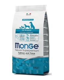 MONGE Hypoallergenic Dog hrană uscată pentru câini, cu somon și ton 2,5 kg