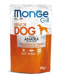MONGE Grill Senior hrană umedă pentru câini seniori, cu rață 100 g