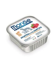 MONGE Fruit Dog Monoprotein hrană umedă pentru câini, cu rață și zmeură 150 g